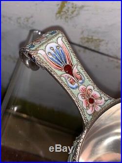 Russian silver 84 cloisonne shaded enamel kovsh semi precious stones Klingert