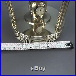 Semi-Precious Gemstone Rotating World Globe Clock Hygrometer & Thermometer