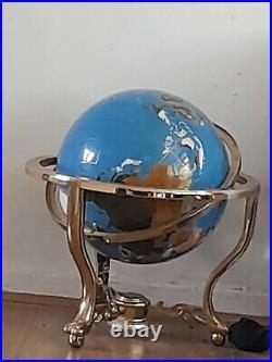 Semi Precious Stone Revolving World Globe In Brass Stand & Compass