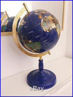 Semi-precious stones World Globe with Lapis