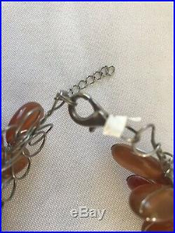 Semiprecious Stone Agate Flower Necklace Iris Apfel Style