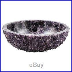 Semiprecious stone amethyst round geode sink