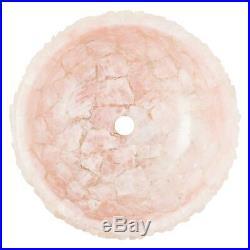 Semiprecious stone rose quartz round geode sink