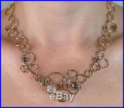 Signed Handmade 14K Gold Universe Carved Moonstone Semi-precious Stones Necklace