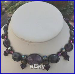 Sorrelli Neckace Purples and Greys Crystals Semi Precious NewithOld Stock