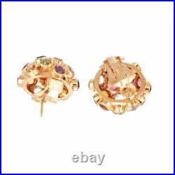 Sputnik 7.60 Carat Multi-Color Semi Precious Stone Yellow Gold Earrings