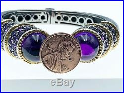 Sterling Silver Hinged Bangle Bracelet With Semi-precious stones