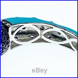 Sterling Silver Hinged Domed enamel Cuff Bracelet With Semi-precious stones