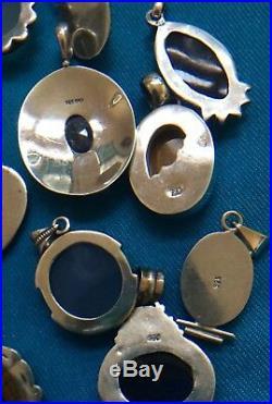 Sterling Silver Pendants Various Colored Semi-Precious Stones 11 Lot 144.9g