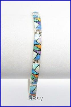 Sterling Silver and Inlay Semi Precious Stone ZUNI Link Bracelet John Kallestewa