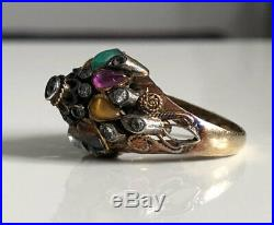 Stunning Vintage Art Deco 14ct Gold Thai Princess Semi Precious Stone Ring