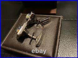 Tateossian Globe Cufflinks Sterling Silver with Semi Precious Lapis MOP with box