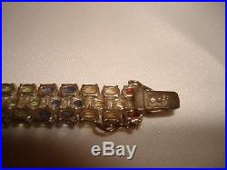 Vintage 101 Semi Precious Stones Set In Sterling Silver Channel Bracelet 7.5 L