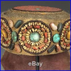 2b9fcb45dde Vintage Beaded Semi-precious Stones Perak Cap Adornment Ornament Ladakh  India
