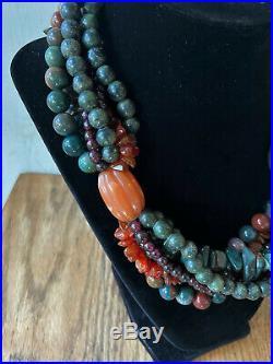 Vintage Designer Estate Multi-Strand Statement Necklace w. Semi-Precious Stones