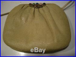 Vintage Judith Lieber Classic Tan Snake Skin & Semi Precious Stones Shoulder Bag