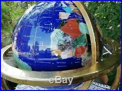Vintage Large Semi Precious Gem Stone Globe Solid Brass Cabriole Legs 46cm x 43c