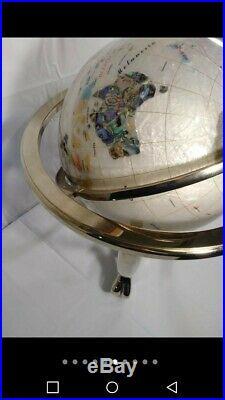 Vintage Semi Precious Gem Stone Floor World Globe With Compass