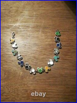 Vintage Sterling Disney Mickey Semi Precious Stones Inlay Rare Bracelet