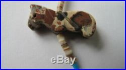 Vintage Zuni Native American Carved Semi Precious Stone Fetish Neklace 2 Strand