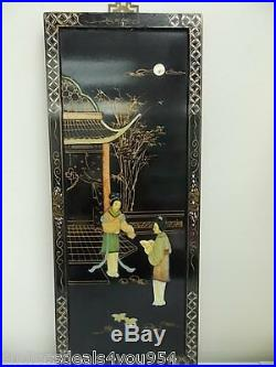 Vintage-lacquered Wall Hanging Panel-semi Precious Stones-bone-mother Of Pearl
