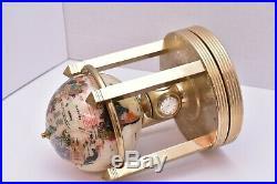 Vtg Pearl & Stone Rotating World Globe Clock semi Precious Gem Brass art deco d