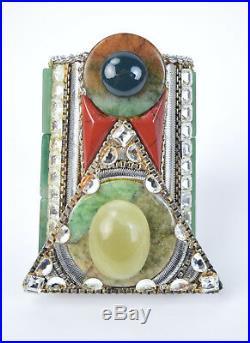 Wendy Gell 1980s Couture Jade Semi-Precious Stone Art Deco Cuff Bracelet
