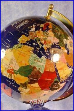 World Globe Blue Lapis Semi Precious Gemstone Minerals beautifully crafted